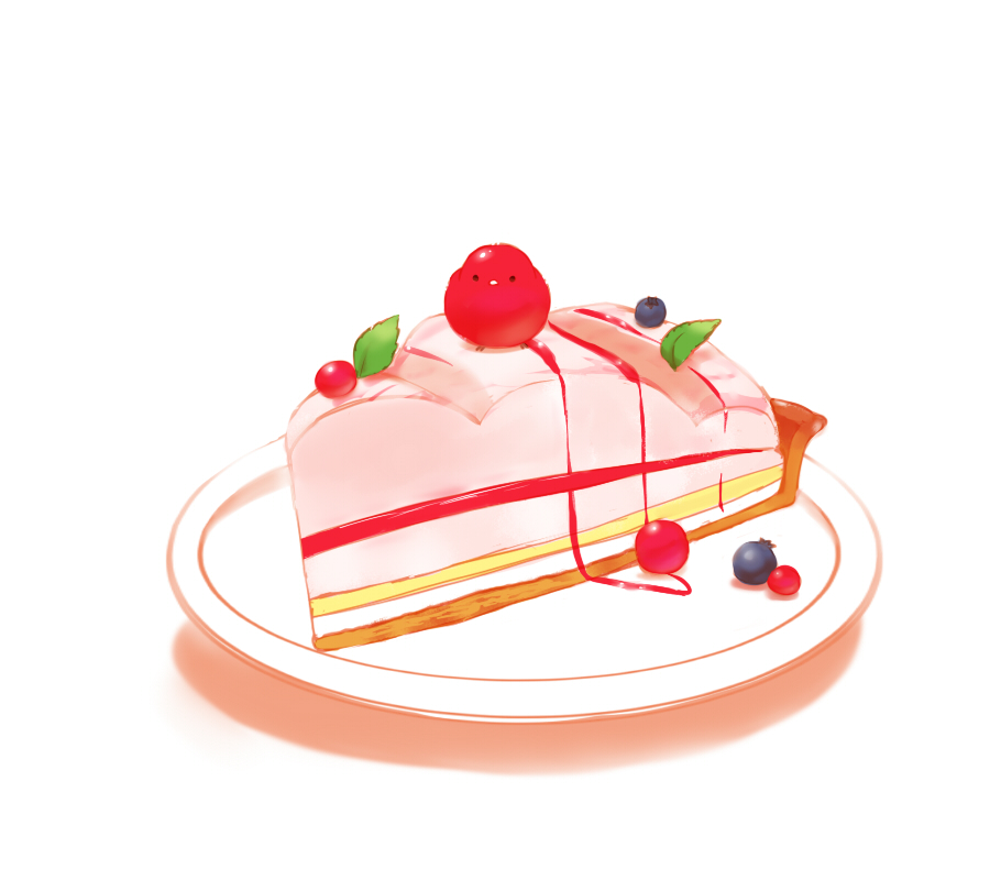 1other berries bird chai commentary_request cream food leaf original plate simple_background sitting_on_food tart_(food) white_background