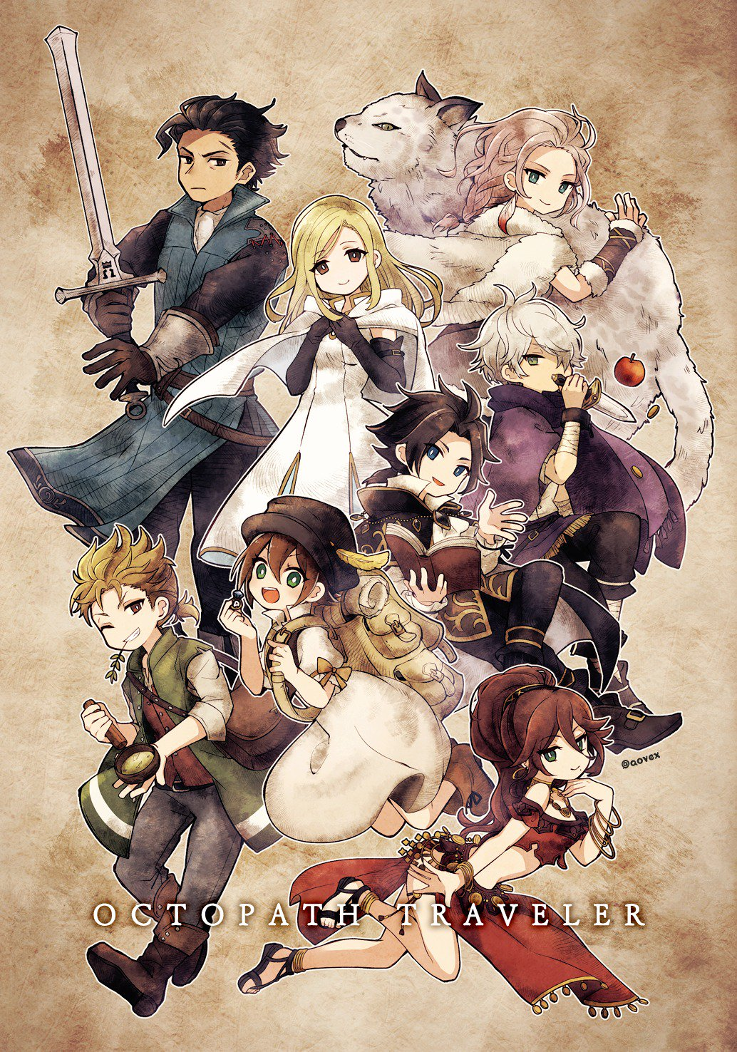 alfyn_(octopath_traveler) animal aononchi apple armor bag blonde_hair blue_eyes book bracelet braid braided_ponytail breasts brown_hair cape cloak cyrus_(octopath_traveler) dancer dress fingerless_gloves food fringe_trim fruit fur_trim gloves green_eyes h'aanit_(octopath_traveler) hair_over_one_eye hat highres jewelry linde_(octopath_traveler) long_hair looking_at_viewer multiple_boys multiple_girls necklace octopath_traveler olberic_eisenberg open_mouth ophilia_(octopath_traveler) ponytail primrose_azelhart scar scarf short_hair simple_background smile snow_leopard sword therion_(octopath_traveler) tressa_(octopath_traveler) weapon white_hair yellow_eyes
