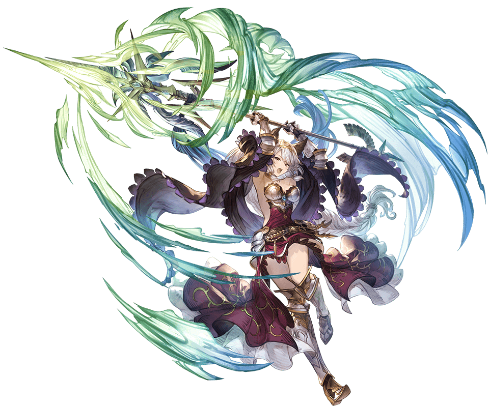 1girl animal_ears armor armored_boots armored_dress bangs boots breasts brown_eyes dress erune gauntlets granblue_fantasy heles holding holding_weapon jewelry long_hair medium_breasts minaba_hideo official_art polearm silver_hair solo spear tiara transparent_background weapon