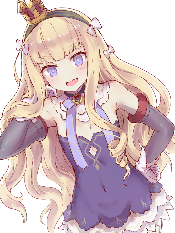 1girl :d azur_lane bangs bare_shoulders black_choker blonde_hair blue_dress blue_eyes blue_neckwear blunt_bangs bow breasts brooch choker covered_navel cowboy_shot crown detached_collar detached_sleeves dress fang gloves hair_bow hairband hand_on_hip hand_up isao_(wasamoti) jewelry long_hair looking_at_viewer mini_crown neck_ribbon open_mouth queen_elizabeth_(azur_lane) ribbon simple_background small_breasts smile solo standing thick_eyebrows v-shaped_eyebrows very_long_hair wavy_hair white_background white_bow white_gloves