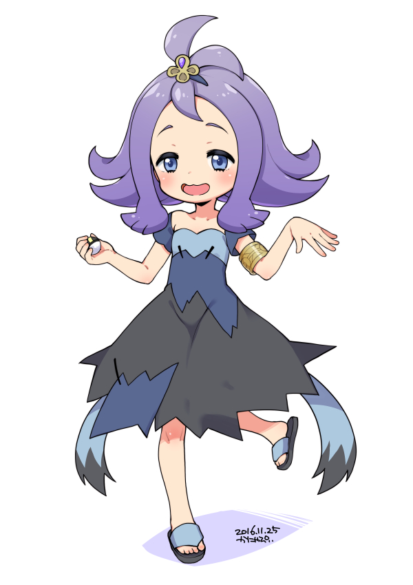 1girl :d acerola_(pokemon) armlet blue_eyes blush creatures_(company) dated dress elite_four flipped_hair full_body game_freak holding holding_poke_ball kanya_pyi leg_up nintendo open_mouth poke_ball pokemon pokemon_(game) pokemon_sm purple_hair sandals short_hair simple_background smile solo standing standing_on_one_leg stitches topknot torn_clothes torn_dress trial_captain ultra_ball white_background