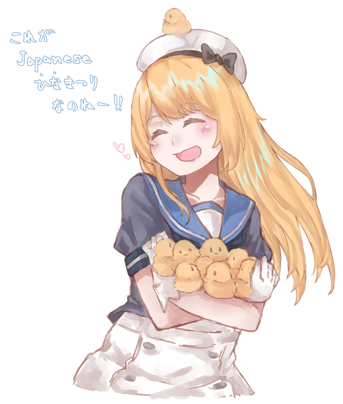 1girl az_toride bird blonde_hair blue_sailor_collar chick chick_on_head closed_eyes cowboy_shot dress gloves hat jervis_(kantai_collection) kantai_collection sailor_collar sailor_dress sailor_hat short_sleeves simple_background solo too_many too_many_chicks translation_request white_background white_dress white_gloves white_hat