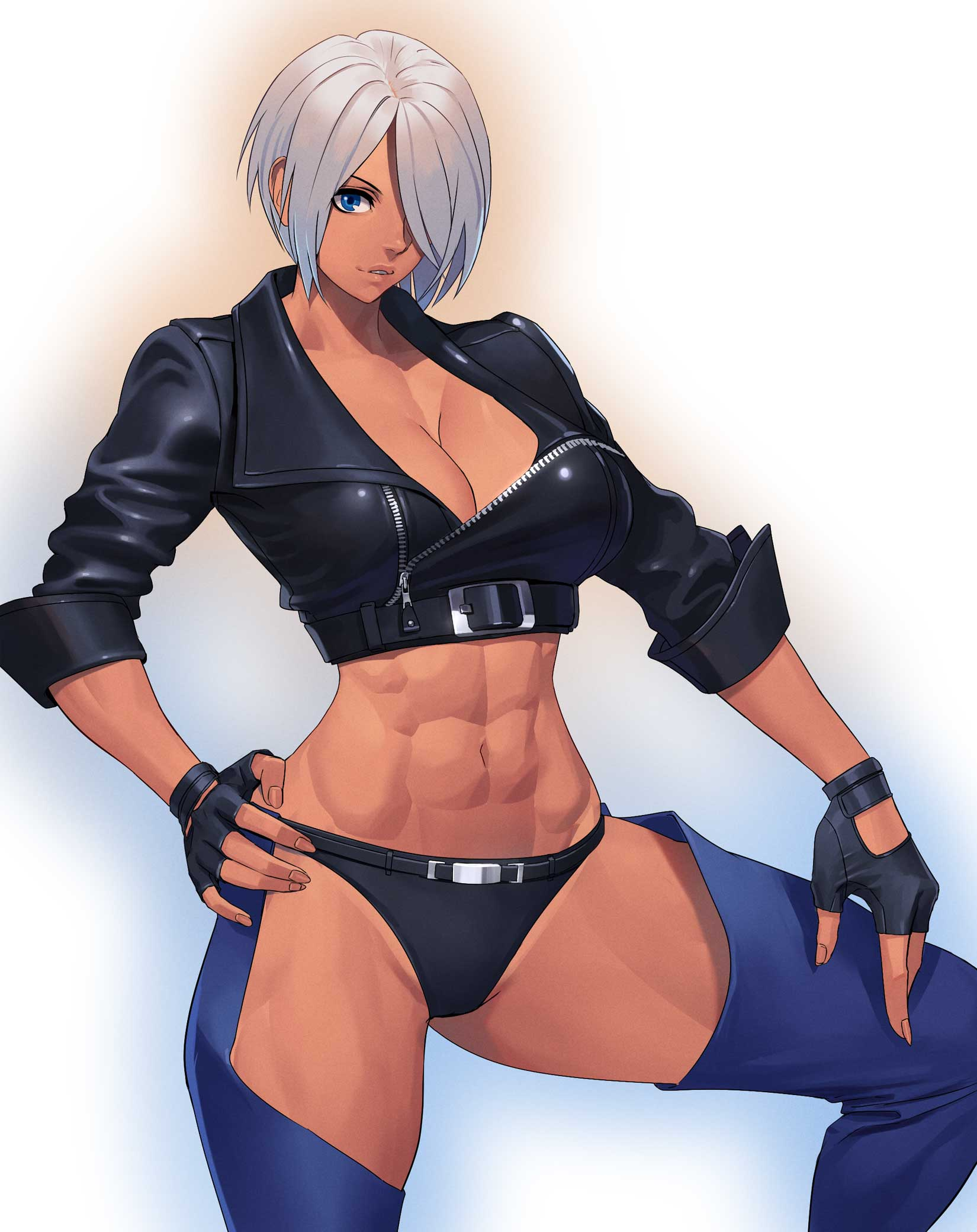 1girl a abs angel_(kof) bangs black_panties bra breasts chaps cleavage commentary_request cropped_jacket feet_out_of_frame fingerless_gloves gloves gradient gradient_background hair_over_one_eye highres jacket large_breasts leather midriff muscle muscular_female ogami panties silver_hair snk solo strapless strapless_bra the_king_of_fighters toned underwear white_hair