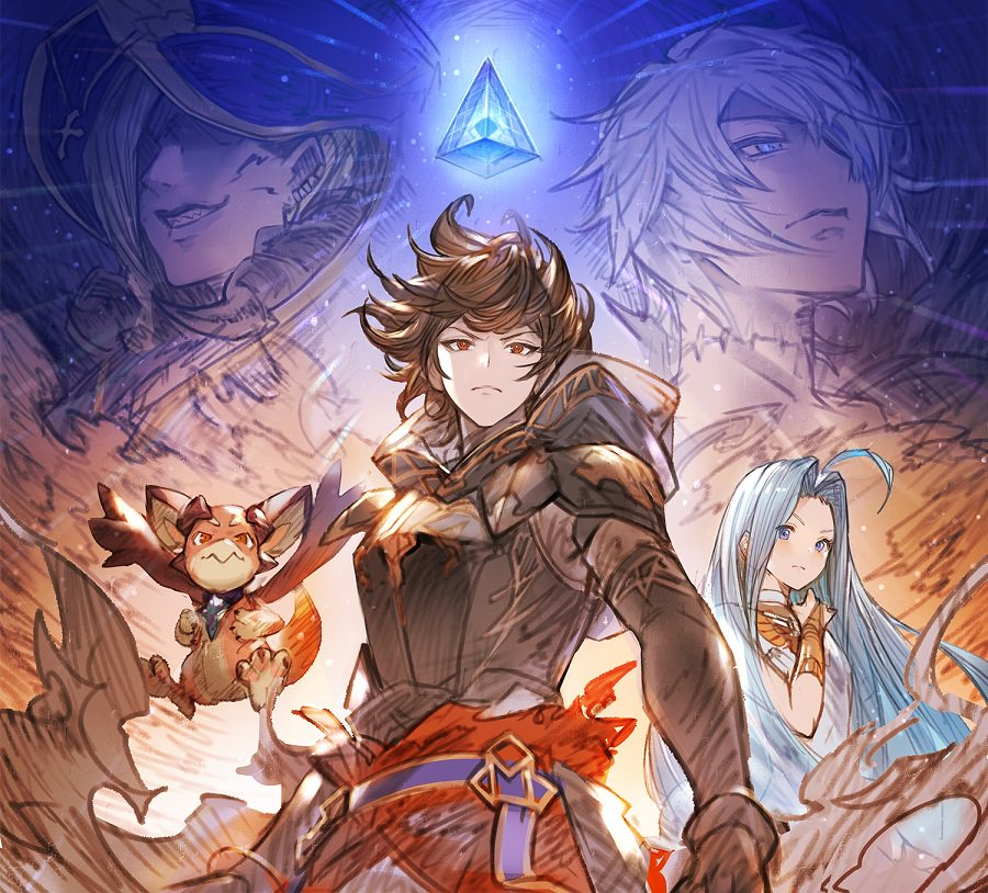 ahoge armor beelzebub_(granblue_fantasy) blue_eyes blue_hair brown_hair choker dragon dress granblue_fantasy hood hood_up long_hair lucilius_(granblue_fantasy) lyria_(granblue_fantasy) official_art sandalphon_(granblue_fantasy) sleeveless sleeveless_dress smile vee_(granblue_fantasy) very_long_hair white_dress white_hair