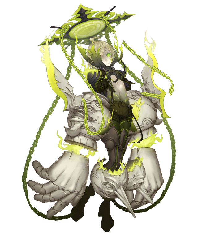 1boy ahoge boots chains dark_persona empty_eyes fire full_body glowing_tattoo green_eyes green_fire green_hair green_skin grin half-nightmare ji_no knee_pads long_nose looking_at_viewer multicolored multicolored_skin navel official_art one_eye_covered pale_skin pinocchio_(sinoalice) platform_footwear short_shorts shorts sinoalice smile solo suspender_shorts suspenders suspenders_hanging tattoo thigh-highs thigh_boots transparent_background