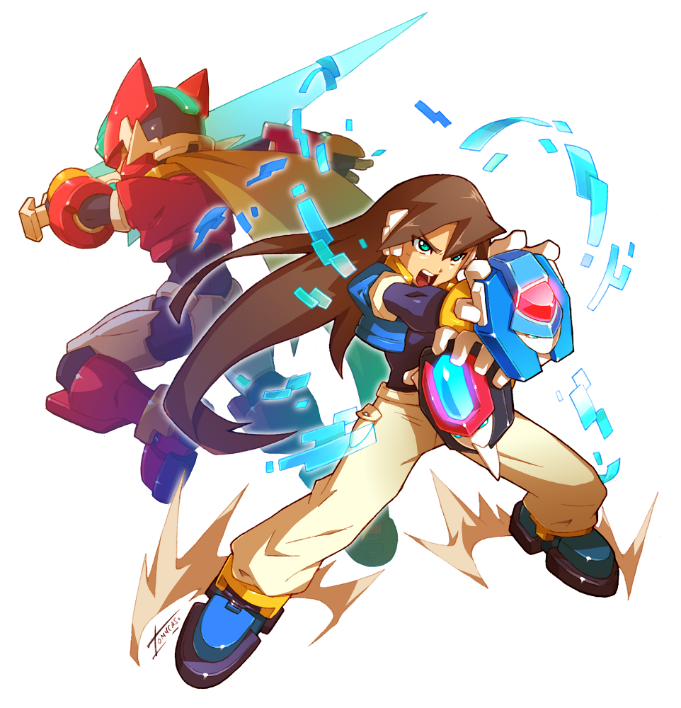 1boy brown_hair green_eyes holding holding_sword holding_weapon long_hair model_zx rockman rockman_zx shouting sword tomycase transformation vent weapon
