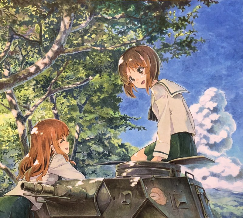 2girls black_neckwear blouse blue_sky brown_eyes brown_hair closed_eyes clouds cowboy_shot day girls_und_panzer green_skirt ground_vehicle long_hair long_sleeves military military_vehicle miniskirt motor_vehicle mountain multiple_girls neckerchief nishizumi_miho ooarai_school_uniform outdoors pleated_skirt school_uniform serafuku shiratama_(hockey) short_hair sitting skirt sky takebe_saori tank traditional_media tree white_blouse