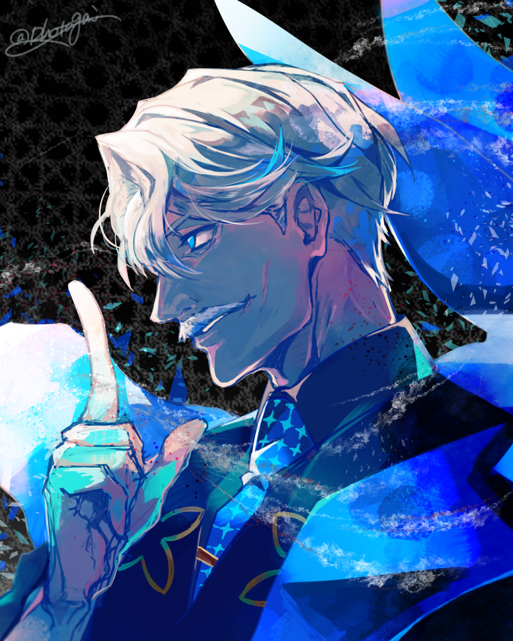 1boy blue_eyes facial_hair fate/grand_order fate_(series) grey_hair highres hotate_rayan james_moriarty_(fate/grand_order) male_focus mustache necktie pointing pointing_up portrait profile twitter_username vest