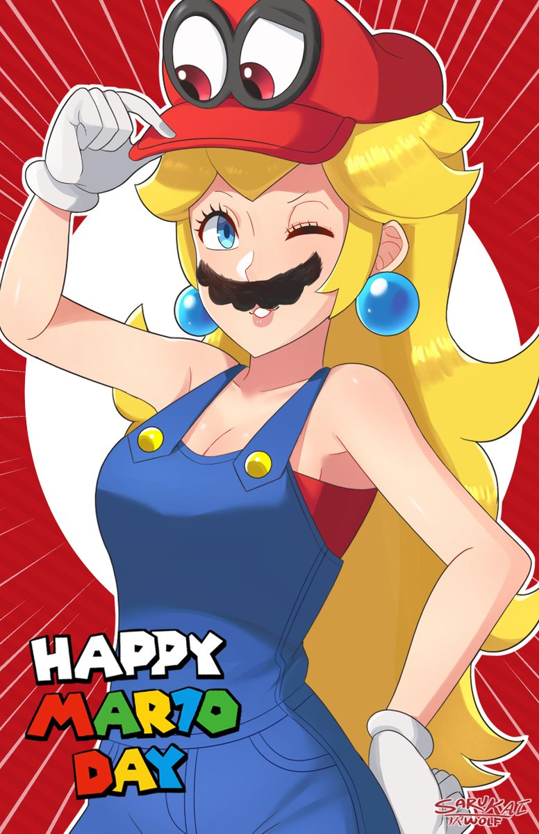 1girl artist_name bare_arms bare_shoulders blonde_hair blue_earrings blue_eyes blue_overalls breasts cappy_(mario) cleavage cosplay earrings facial_hair gloves hat jewelry large_breasts long_hair mario_(series) mustache nintendo no_bra one_eye_closed open_mouth overalls possessed princess princess_peach red_background red_shirt sarukaiwolf shirt smile super_mario_bros. super_mario_odyssey undershirt white_gloves