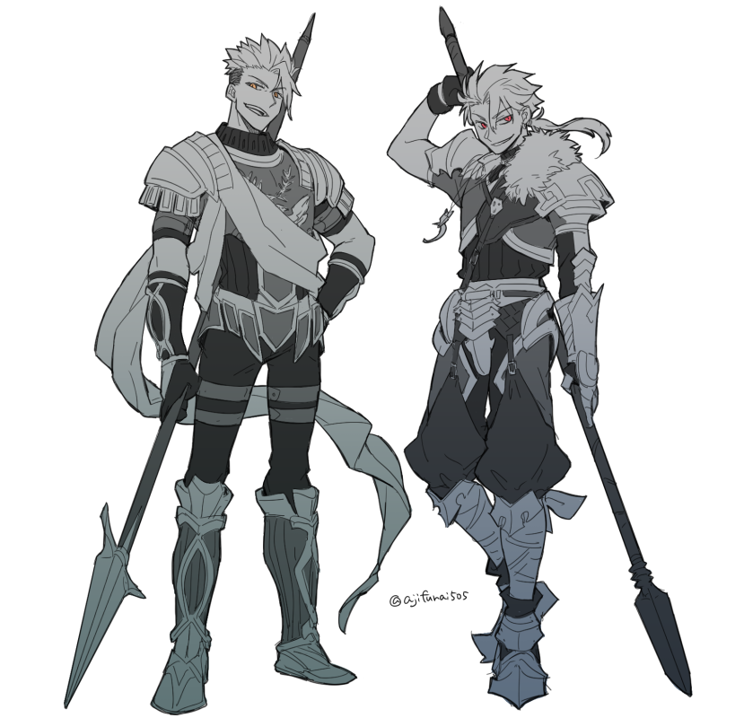 2boys achilles_(fate) arm_up armored_boots asaya_minoru bangs boots cu_chulainn_(fate/prototype) eyebrows_visible_through_hair fate/apocrypha fate/prototype fate_(series) fur_trim gloves green_eyes hair_between_eyes hand_on_hip holding holding_spear holding_weapon knee_boots long_hair low_ponytail male_focus monochrome multiple_boys open_mouth parted_lips pauldrons polearm ponytail puffy_pants simple_background spear standing twitter_username v-shaped_eyebrows vambraces weapon white_background