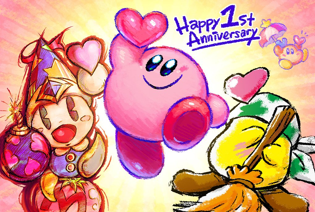 4others anniversary bandanna black_eyes blue_eyes blush_stickers bomb broom broom_hatter commentary_request english_text faceless floating food hal_laboratory_inc. hat heart hoshi_no_kirby kirby kirby:_star_allies kirby_(series) maxim_tomato nintendo no_humans official_art open_mouth parasol poppy_bros_jr smile umbrella waddle_dee