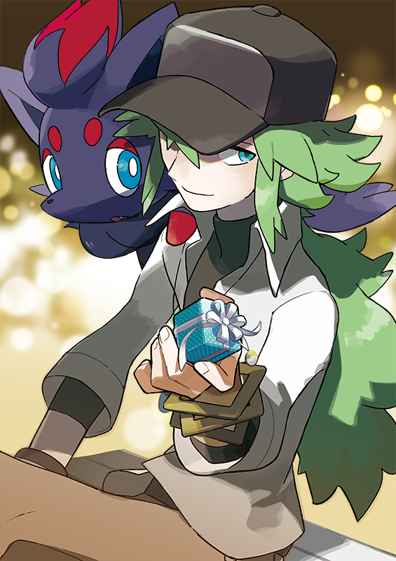 1boy baseball_cap blurry bokeh bracelet brown_pants closed_mouth creatures_(company) depth_of_field game_freak gen_5_pokemon gift green_eyes green_hair hat jewelry long_hair looking_at_viewer low_ponytail male_focus n_(pokemon) nintendo official_art pants pokemon pokemon_(game) pokemon_bw pokemon_on_shoulder shirt sitting solo very_long_hair white_day white_shirt zorua