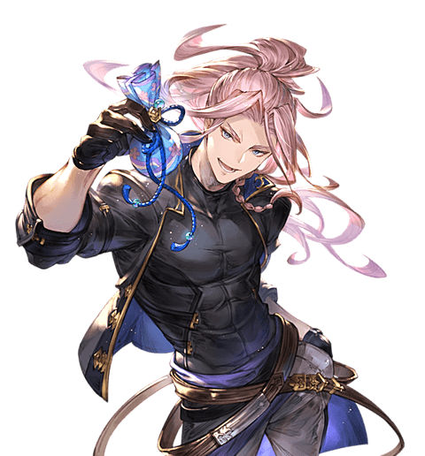 1boy belt black_jacket black_shirt blue_eyes contrapposto floating_hair gift gloves granblue_fantasy high_ponytail incoming_gift jacket long_hair looking_at_viewer male_focus minaba_hideo official_art open_mouth pink_hair randall_(granblue_fantasy) shirt skin_tight smile solo transparent_background white_day