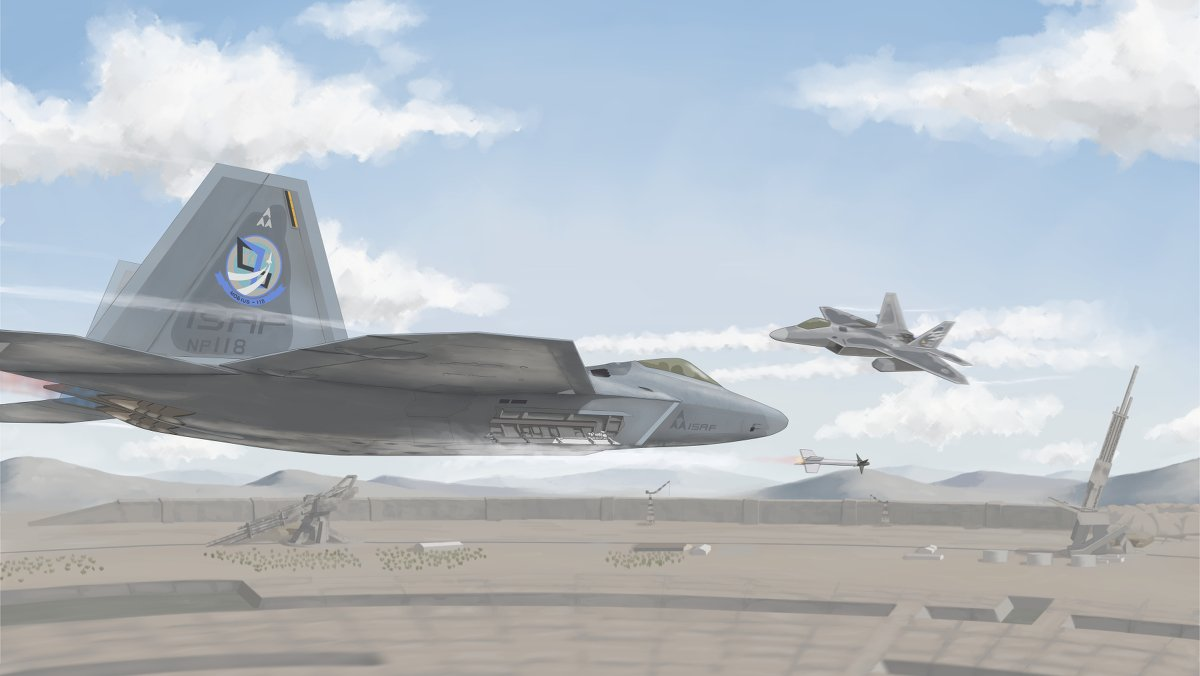 ace_combat ace_combat_04 ace_combat_7 aircraft airplane artist_request blue_sky building clouds condensation_trail crane emblem f-22_raptor fighter_jet ground hill isaf jet military military_vehicle missile mobius_1 sky stonehenge_(ace_combat) structure trigger_(ace_combat) wall