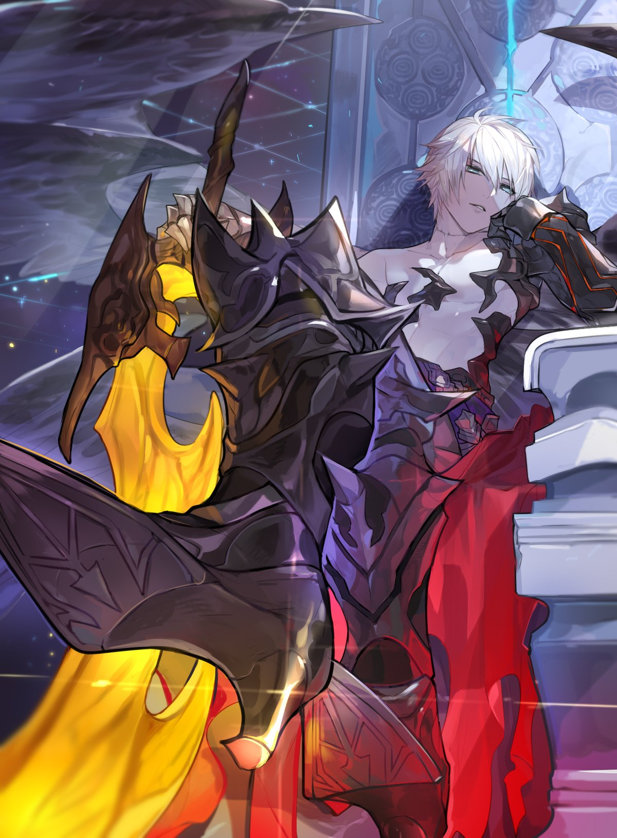 1boy black_footwear blue_eyes gauntlets granblue_fantasy hair_between_eyes high_heels highres holding holding_sword holding_weapon legs_crossed looking_at_viewer lucilius_(granblue_fantasy) male_focus open_mouth picube525528 short_hair shoulder_armor silver_hair sword throne weapon white_hair