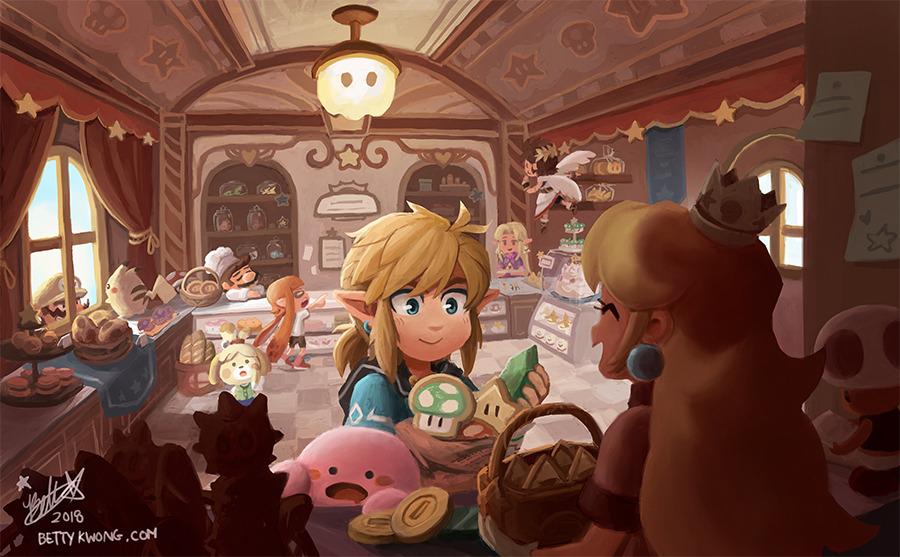 3girls 3others 5boys bakery basket bettykwong bread cake chef_hat coin cookie counter creatures_(company) doubutsu_no_mori food game_freak gen_1_pokemon hat hoshi_no_kirby inkling kid_icarus kirby kirby_(series) mario mushroom nintendo pikachu pink_puff_ball pit pokemon princess_peach princess_zelda shizue_(doubutsu_no_mori) shop splatoon_(series) star super_smash_bros. super_smash_bros._ultimate the_legend_of_zelda toad tobidase:_doubutsu_no_mori wario wario_land window yoshi's_cookie