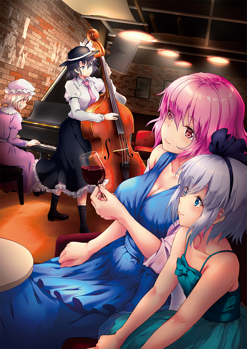 4girls alcohol alternate_costume aqua_dress aqua_eyes awa_yume bare_shoulders black_hair blonde_hair blue_dress blue_eyes boots breasts cello chair cleavage contemporary cup dress dress_shirt drinking_glass fedora hair_ribbon hat highres holding holding_cup instrument konpaku_youmu large_breasts long_skirt maribel_hearn medium_breasts mob_cap multiple_girls necktie no_hat no_headwear piano pink_eyes pink_hair purple_dress ribbon saigyouji_yuyuko shawl shirt short_hair silver_hair sitting skirt smile table touhou usami_renko wine wine_glass yellow_eyes