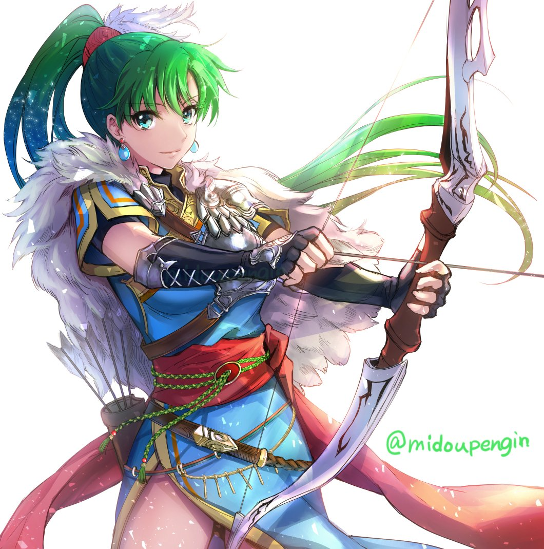 1girl arrow black_gloves bow_(weapon) closed_mouth dress earrings fingerless_gloves fire_emblem fire_emblem:_rekka_no_ken fire_emblem_heroes gloves green_eyes green_hair holding holding_bow_(weapon) holding_weapon jewelry long_hair lyndis_(fire_emblem) mintes nintendo ponytail quiver short_sleeves side_slit simple_background smile solo twitter_username weapon white_background