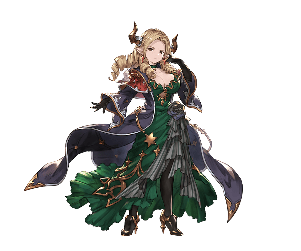 1girl bangs black_gloves blonde_hair breasts brown_eyes choker cleavage closed_mouth draph dress drill_hair earrings elbow_gloves full_body gloves granblue_fantasy green_dress hand_up high_heels horns jewelry large_breasts long_coat long_hair long_sleeves looking_at_viewer minaba_hideo official_art pantyhose parted_bangs pointy_ears serious shiny shiny_hair solo standing teresa_(granblue_fantasy) transparent_background wide_sleeves