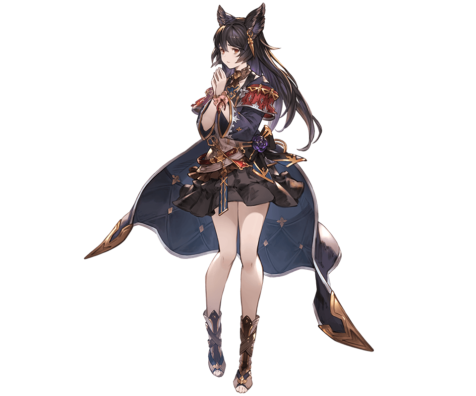 1girl animal_ears bangs belt black_hair closed_mouth earrings erune full_body granblue_fantasy hands_together jewelry long_coat long_hair long_sleeves looking_at_viewer minaba_hideo niia official_art open_toe_shoes red_eyes scrunchie shiny shiny_hair skirt solo standing toes transparent_background wide_sleeves wrist_scrunchie