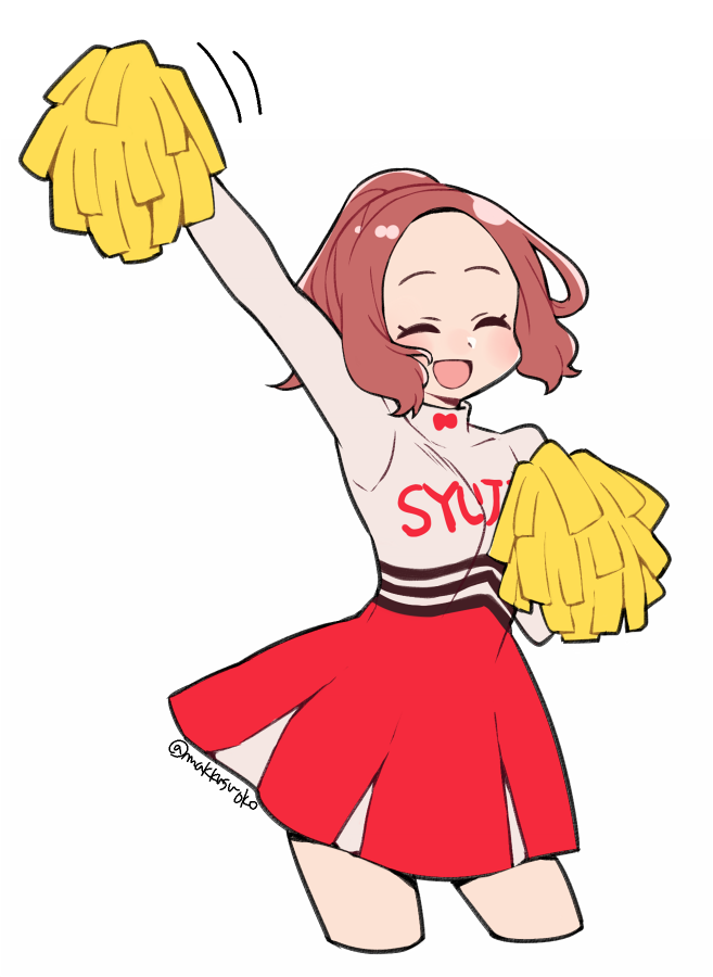 1girl :d alternate_costume alternate_hairstyle blush brown_hair cheerleader closed_eyes commentary_request do_m_kaeru okumura_haru open_mouth persona persona_5 persona_5:_dancing_star_night pom_poms ponytail short_hair smile solo twitter_username