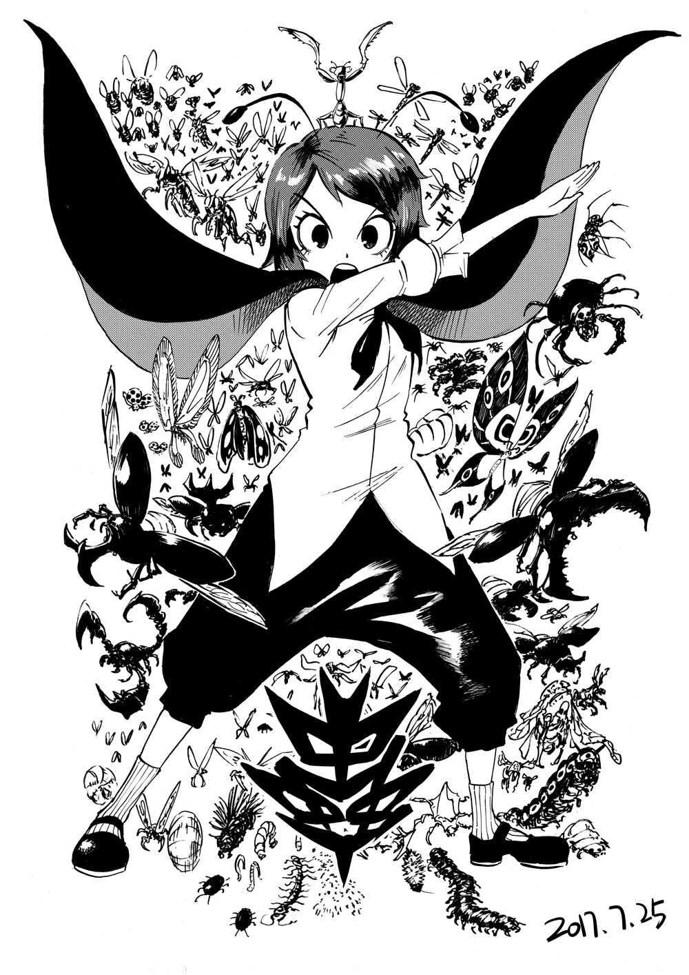 1girl angry antennae bee black_footwear blackcat_(pixiv) bug butterfly cape centipede clenched_hand dated dragonfly dress_shirt eyebrows_visible_through_hair fly greyscale highres insect ladybug looking_at_viewer mary_janes millipede monochrome mosquito open_mouth pose praying_mantis scorpion serious shirt shoes short_hair short_sleeves shorts socks spider touhou v-shaped_eyebrows white_background worms wriggle_nightbug