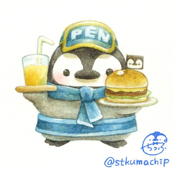 artist_name bird black_eyes blue_hat blush cup drinking_straw flag food hamburger hat holding holding_plate looking_at_viewer no_humans original penguin plate signature simple_background st.kuma twitter_username white_background