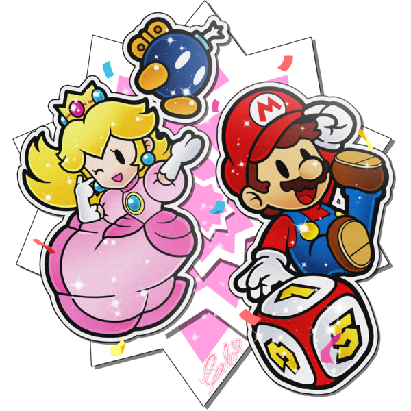 1boy 1girl 1other bob-omb confetti dice facial_hair intelligent_systems jumping mario mario_party mustache nd_cube nintendo one_eye_closed paper_mario pointing princess_peach smile sparkle style_parody thepinkmarioprincess