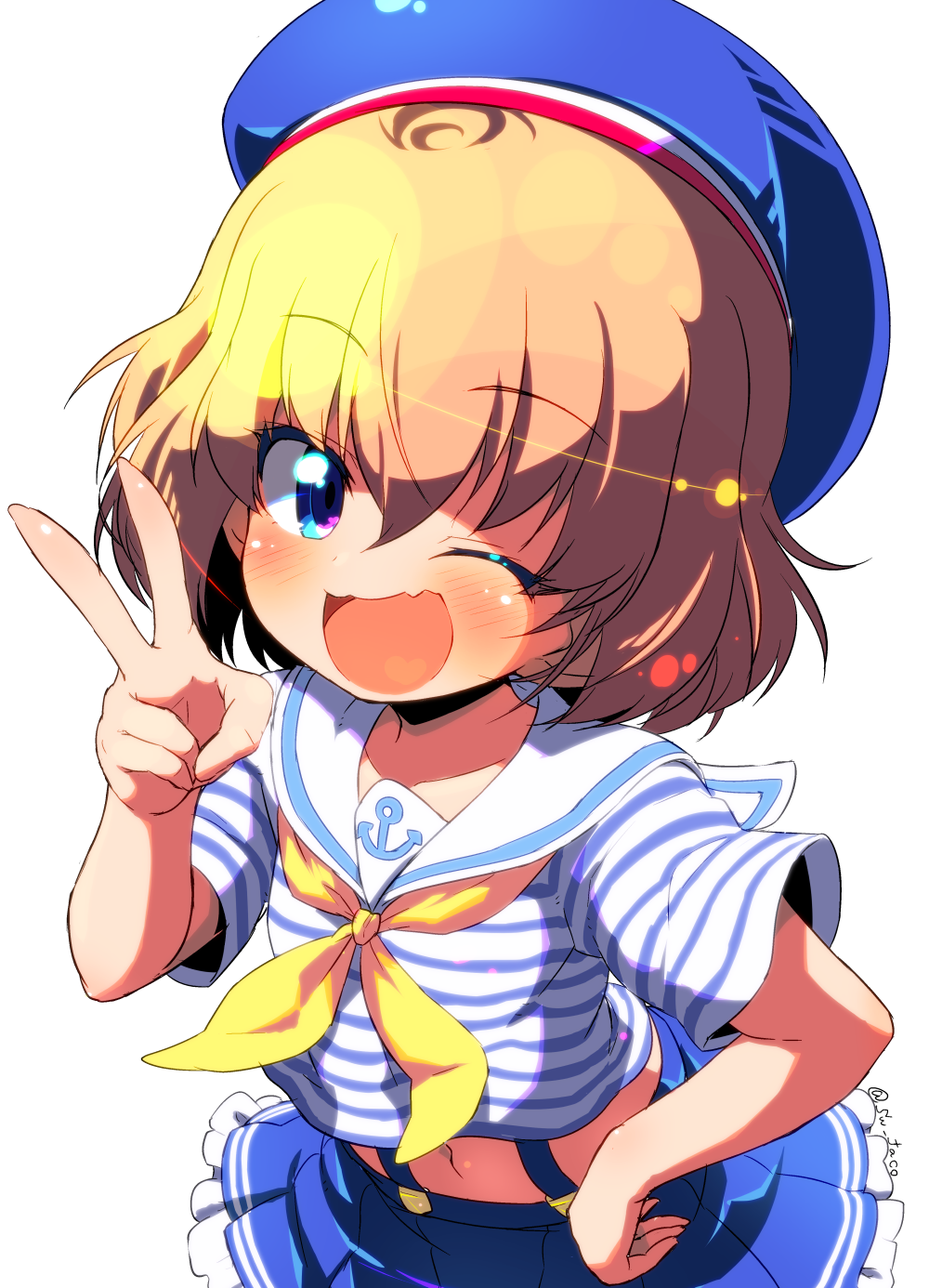 1girl ;d anchor_symbol bangs beret blonde_hair blue_eyes blue_hat blue_shirt blue_sky blush casual commentary double_horizontal_stripe eyebrows_visible_through_hair fang frilled_skirt frills girls_und_panzer hat head_tilt highres katyusha leaning_forward looking_at_viewer midriff miniskirt navel neckerchief one_eye_closed open_mouth pleated_skirt print_skirt sailor_collar shirt short_hair short_sleeves skirt sky smile solo standing striped striped_shirt suspender_skirt suspenders sw twitter_username upper_body yellow_neckwear
