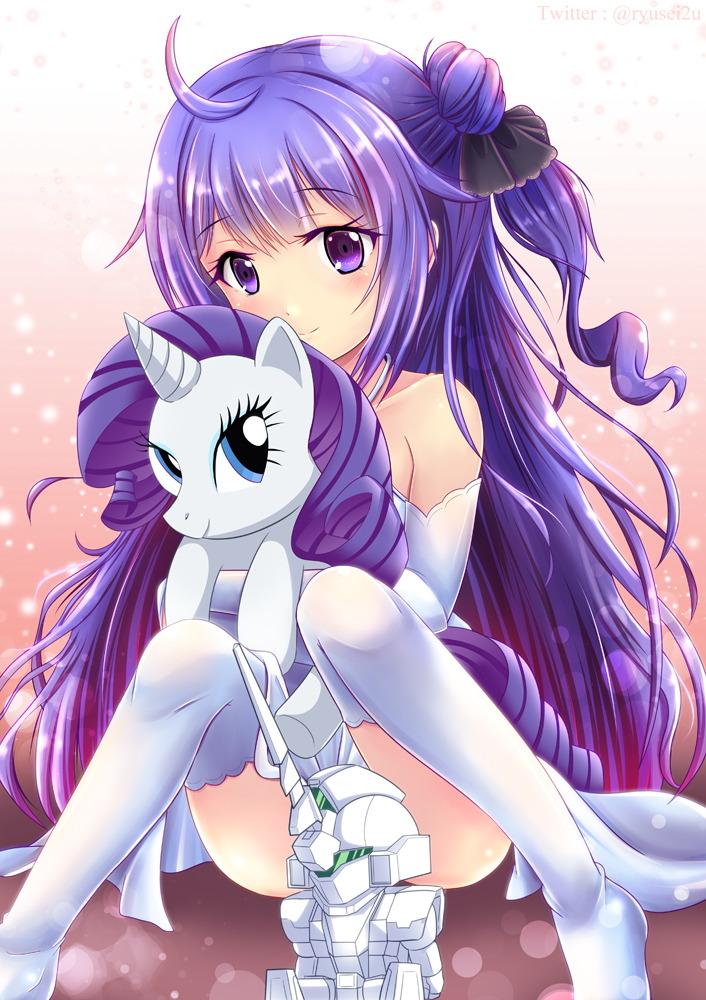 ahoge azur_lane black_bow black_ribbon blue_eyes bow criss-cross_halter crossover dress eyebrows_visible_through_hair gundam gundam_unicorn hair_ribbon halterneck horn hug long_hair mecha my_little_pony namesake one_side_up petite purple_hair rarity ribbon ryusei2u unicorn unicorn_(azur_lane) unicorn_gundam very_long_hair violet_eyes white_dress white_legwear