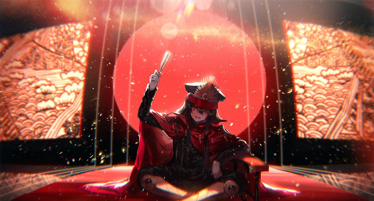 1girl black_hair blurry blurry_background cape elbow_rest fate/grand_order fate_(series) fuuna_(conclusion) gloves hat koha-ace legs_crossed lens_flare military_hat oda_nobunaga_(fate) one_eye_covered red_eyes sitting white_gloves