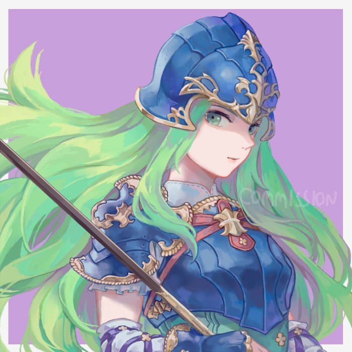 1girl armor blue_armor blue_eyes blush breastplate fire_emblem fire_emblem:_souen_no_kiseki gloves green_eyes green_hair helmet long_hair nephenee nintendo polearm rheamii smile solo spear weapon