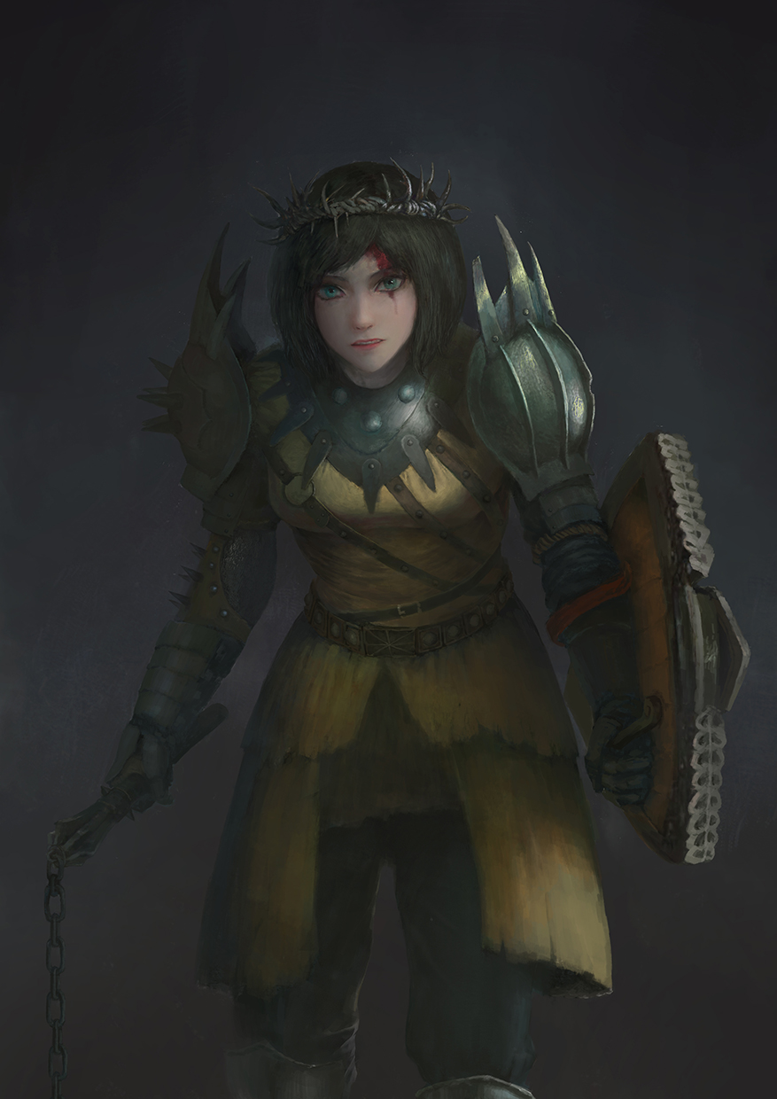 1girl armor black_hair blood blood_on_face breasts conqueror_(for_honor) crown_of_thorns flail for_honor green_eyes highres shield short_hair solo tagme weapon xpjt3275