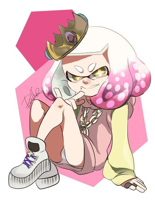 +_+ 1girl crown domino_mask full_body gem gradient_hair hime_(splatoon) isamu-ki_(yuuki) jewelry long_sleeves looking_at_viewer mask medallion medium_hair multicolored_hair panties pantyshot pantyshot_(sitting) ring signature sitting smile solo splatoon splatoon_(series) splatoon_2 splatoon_2:_octo_expansion suction_cups tentacle_hair two-tone_hair underwear white_footwear white_hair white_panties yellow_eyes