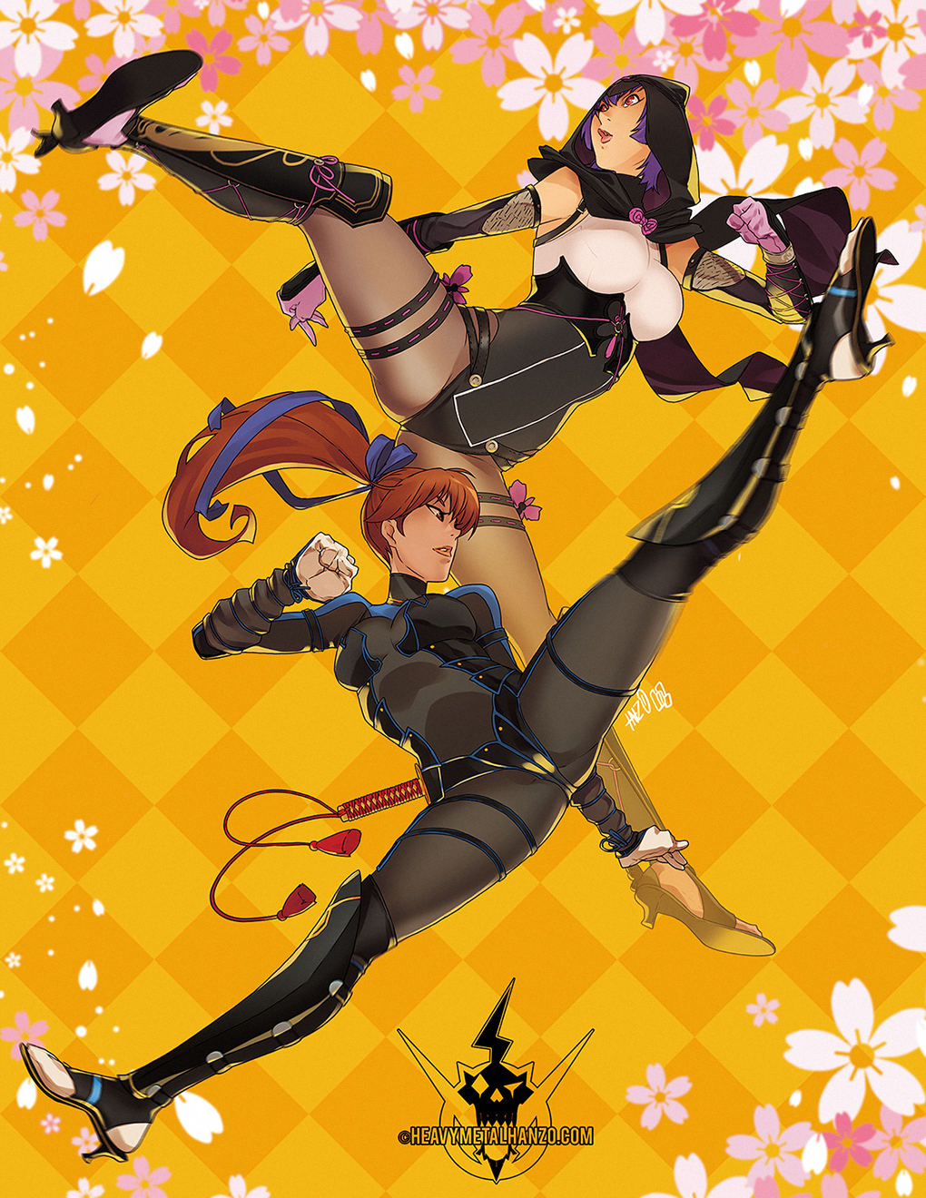2girls alternate_costume ayane_(doa) bed_sheet black_legwear blue_ribbon bodysuit breasts brown_eyes brown_hair capelet clenched_hand dead_or_alive dead_or_alive_6 full_body greaves hair_ribbon high_heels high_kick highres hood hooded_capelet kasumi_(doa) kicking large_breasts leotard lips long_hair long_legs metalhanzo motion_blur multiple_girls ninja over-kneehighs pantyhose ponytail purple_hair red_eyes ribbon siblings sisters source_request spread_legs thick_thighs thigh-highs thigh_strap thighs vambraces watermark web_address