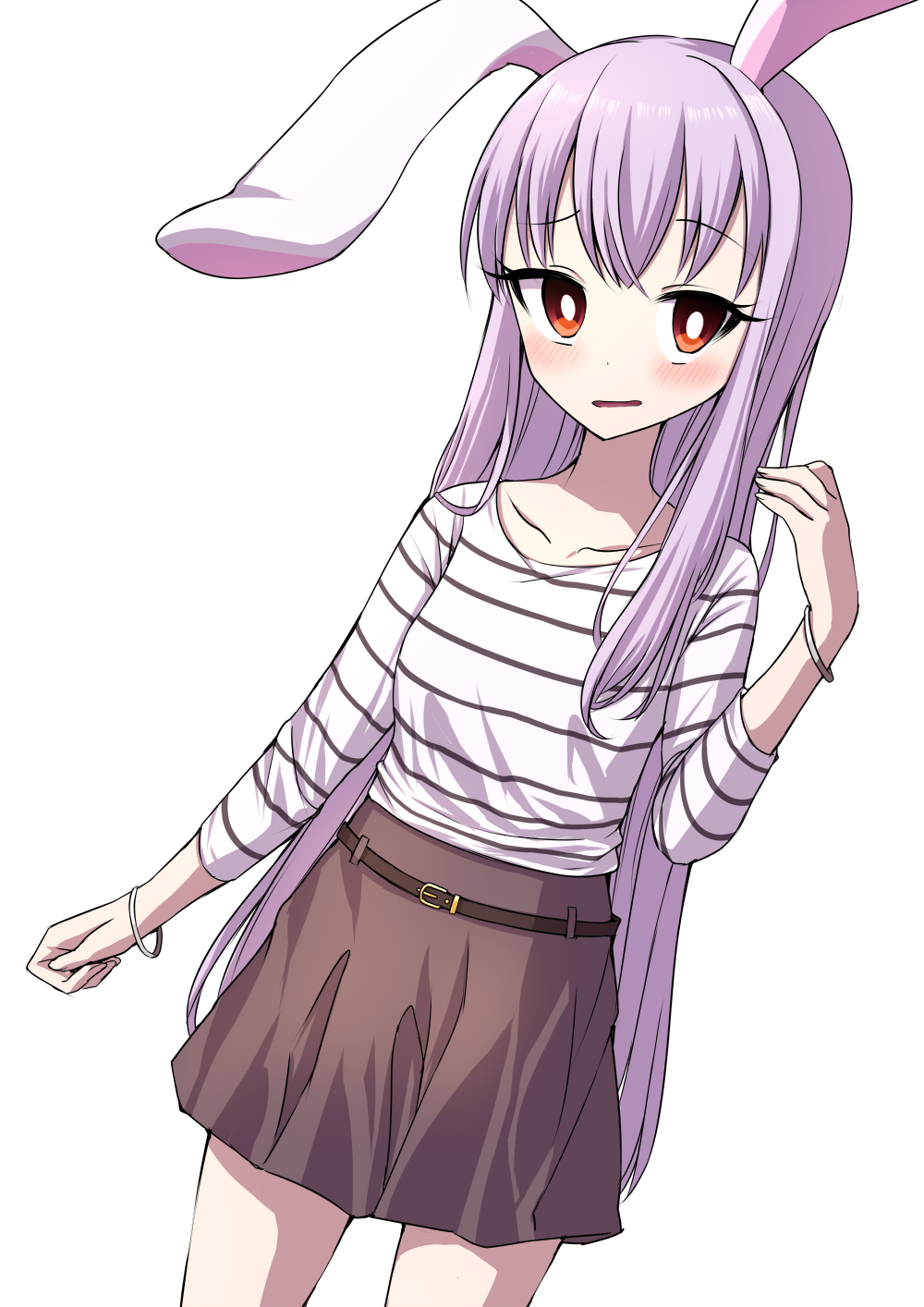 1girl alternate_costume animal_ears arm_up bangs belt blush bracelet breasts bright_pupils brown_skirt casual collarbone commentary_request contemporary cowboy_shot curled_fingers dutch_angle eyebrows_visible_through_hair highres horizontal_stripes jewelry lavender_hair long_hair long_sleeves looking_at_viewer parted_lips rabbit_ears red_eyes reisen_udongein_inaba shirt simple_background skirt small_breasts solo striped striped_shirt touhou tsukimirin very_long_hair white_background white_pupils