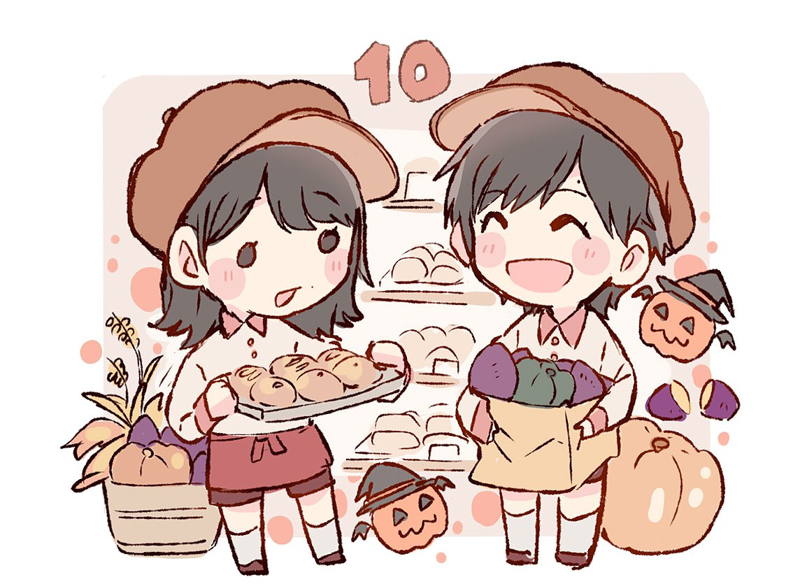2girls :d ^_^ akb48 apron bag bangs basket black_hair blush bread brown_headwear cabbie_hat chibi closed_eyes closed_eyes collared_shirt food hat holding holding_bag holding_tray jack-o'-lantern long_sleeves mole multiple_girls murayama_yuiri number october okada_nana open_mouth paper_bag pastry pumpkin real_life red_apron shirt short_hair smile socks standing sweet_potato taneda_yuuta tray waist_apron wheat white_legwear witch_hat yakiimo