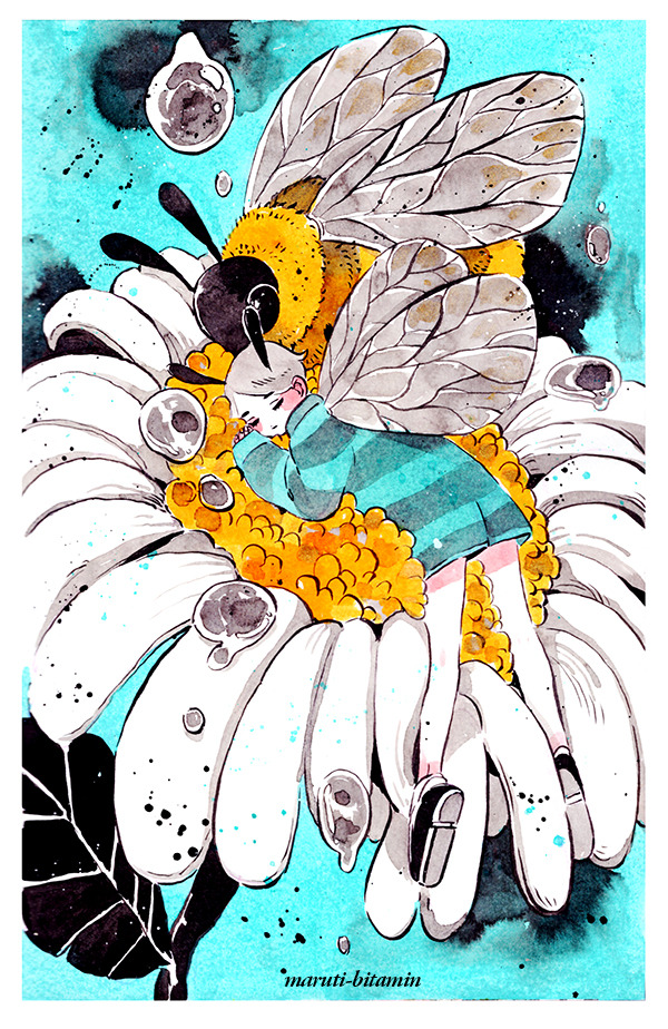 1girl aqua_background artist_name bee bee_girl black_footwear bug closed_eyes flower grey_hair insect insect_girl insect_wings leaf long_sleeves maruti_bitamin minigirl no_nose original plant shoes short_hair sleeping sleeves_past_wrists striped white_flower wings