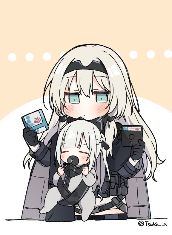 ... 2girls ak-12_(girls_frontline) an-94_(girls_frontline) baby babywearing bangs black_gloves black_ribbon blue_eyes blush braid brown_background closed_eyes eyebrows_visible_through_hair floppy_disk girls_frontline gloves grey_jacket hair_between_eyes hair_ribbon headpiece holding jacket light_brown_hair long_hair multiple_girls pacifier ponytail ribbon silver_hair tsuka twitter_username two-tone_background very_long_hair white_background younger