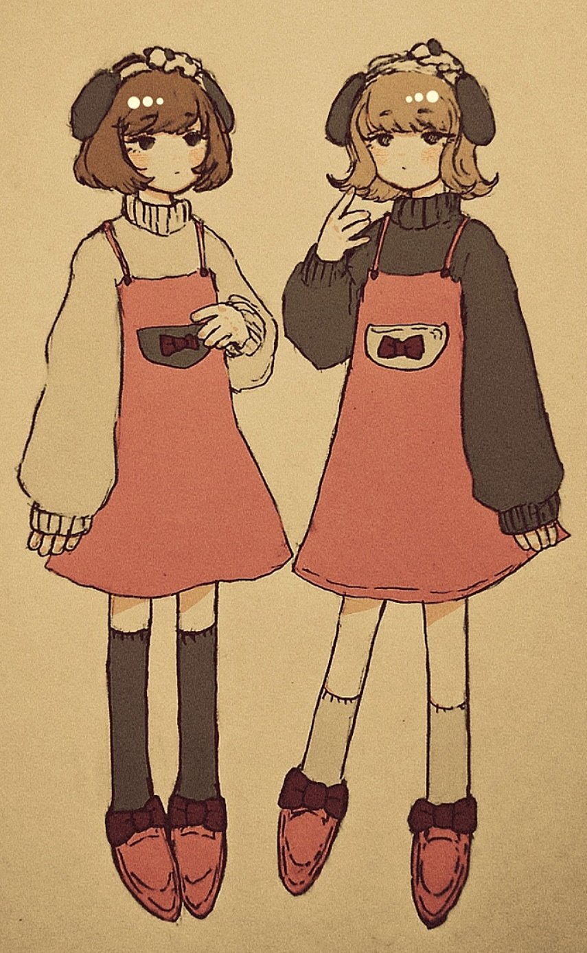 2girls bangs black_legwear black_sweater brown_hair dress earmuffs eyebrows_visible_through_hair hand_up highres long_sleeves multiple_girls no_nose original pink_dress pink_footwear pocket sakura_szm shoes short_hair socks sweater white_legwear white_sweater