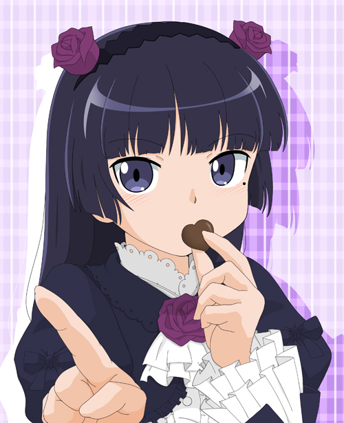 black_hair blue_eyes chocolate chocolate_heart covering_mouth flower frills gokou_ruri gothic_lolita heart hime_cut lolita_fashion long_sleeves mole mole_under_eye ore_no_imouto_ga_konna_ni_kawaii_wake_ga_nai pointing pointing_at_viewer rose rose_hair_ornament valentine warudarake