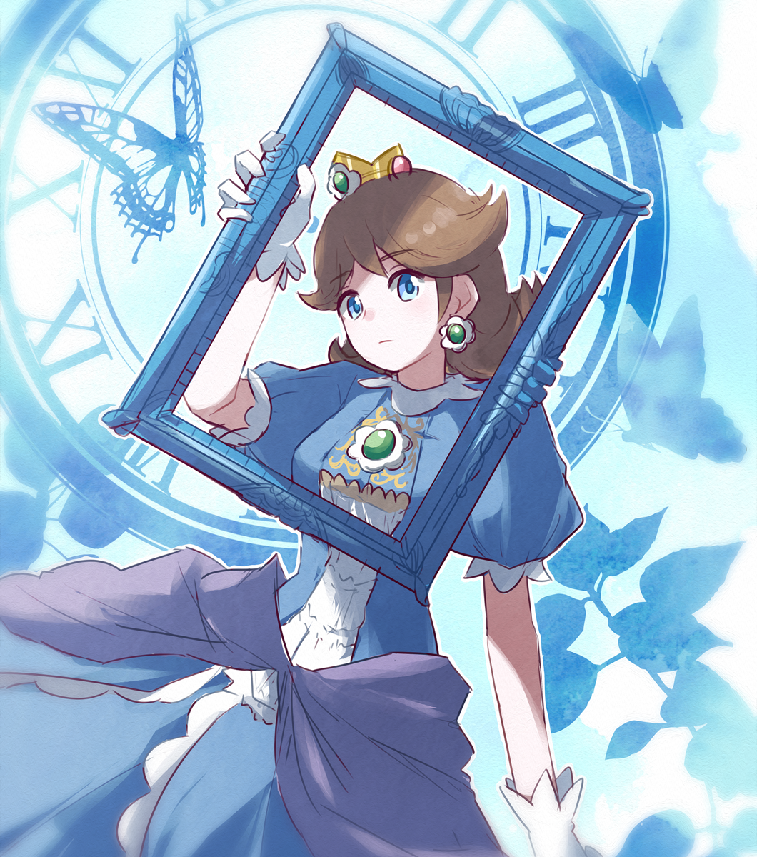 1girl alternate_color blue_dress blue_eyes brooch brown_hair bug butterfly clock closed_mouth crown dress earrings eyebrows_visible_through_hair flipped_hair flower_earrings frown gem gloves hand_up highres holding insect jewelry mario_(series) medium_hair misowhite nintendo outline princess princess_daisy puffy_short_sleeves puffy_sleeves roman_numerals short_sleeves super_smash_bros. white_gloves white_outline