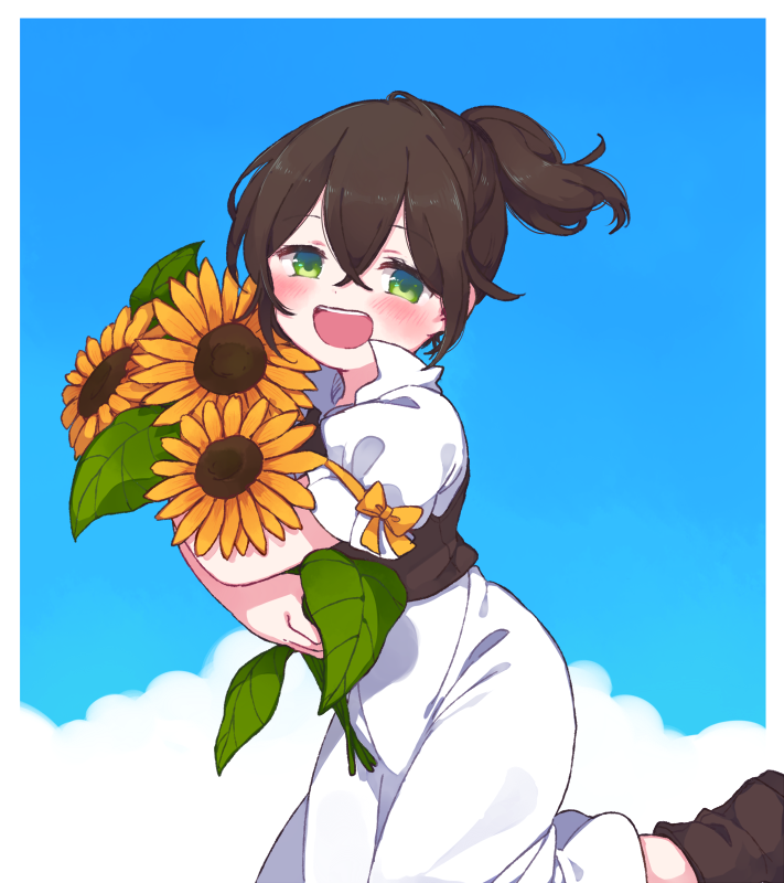 1girl 697_mono_71 blush brown_hair dress flower green_eyes jewelry long_hair looking_at_viewer octopath_traveler open_mouth ponytail simple_background sky smile solo sunflower tressa_(octopath_traveler)