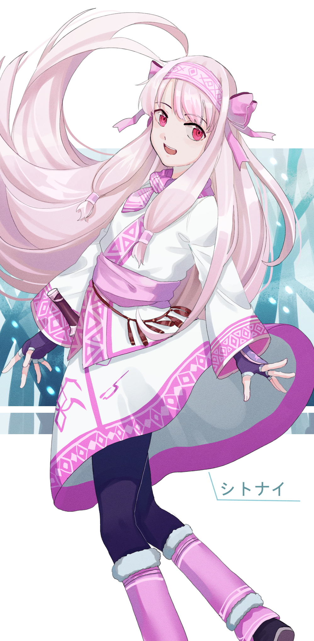 1girl :d ainu_clothes black_legwear character_name eyebrows_visible_through_hair fate/grand_order fate_(series) fingerless_gloves floating_hair fur-trimmed_legwear fur_trim gina_61324 gloves hairband highres leg_warmers long_hair long_sleeves looking_at_viewer medium_skirt necktie open_mouth outstretched_hand pantyhose pink_hairband pink_legwear pink_neckwear print_skirt purple_gloves red_eyes short_necktie silver_hair sitonai skirt smile solo standing very_long_hair white_skirt
