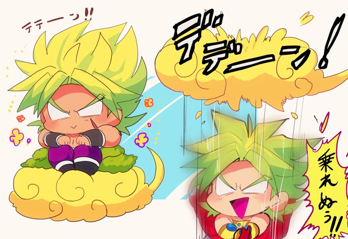 2boys :> blurry broly broly_(dragon_ball_super) chibi clouds d: dragon_ball dragon_ball_super_broly dragonball_z dual_persona eyebrows_visible_through_hair falling flower flying_nimbus green_hair happy legendary_super_saiyan male_focus motunabe707070 multiple_boys no_eyes open_mouth purple_legwear scar shirtless sitting smile spiky_hair super_saiyan_full_power translation_request