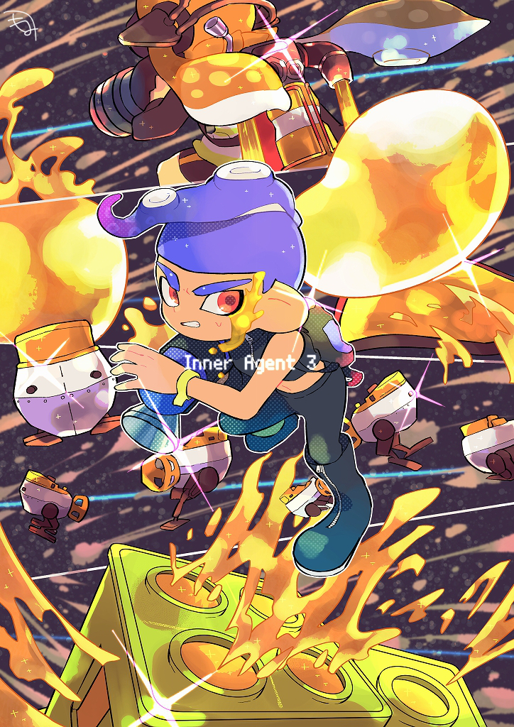 1boy 1girl agent_8 autobomb_(splatoon) back-to-back bike_shorts black_footwear black_pants blue_hair boots bubble bubble_blower_(splatoon) clenched_teeth headgear inkjet_(splatoon) inkling jetpack kirikuchi_riku long_hair mohawk navel octoling octoshot_(splatoon) orange_hair outline paint pants red_eyes short_hair single_vertical_stripe splatoon splatoon_(series) splatoon_2 splatoon_2:_octo_expansion squidbeak_splatoon suction_cups teeth tenta_missiles_(splatoon) v-shaped_eyebrows white_outline zipper