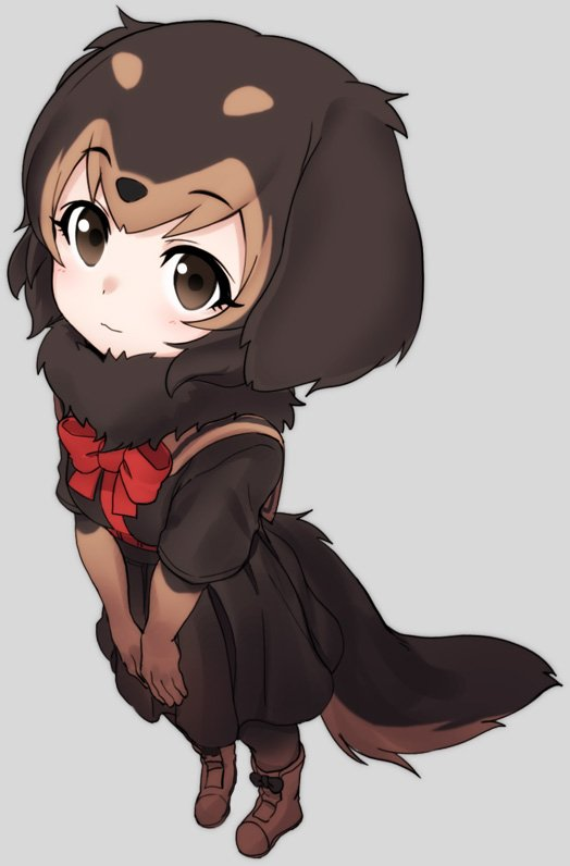 1girl animal_ears black_hair blush boots bow bowtie brown_eyes brown_hair dachshund_(kemono_friends)_(nyifu) dog_ears dog_tail elbow_gloves eyebrows_visible_through_hair from_above fur_collar gloves harness kemono_friends looking_at_viewer multicolored_hair nyifu original pantyhose pleated_skirt red_neckwear sailor_collar short_hair short_sleeves skirt solo tail