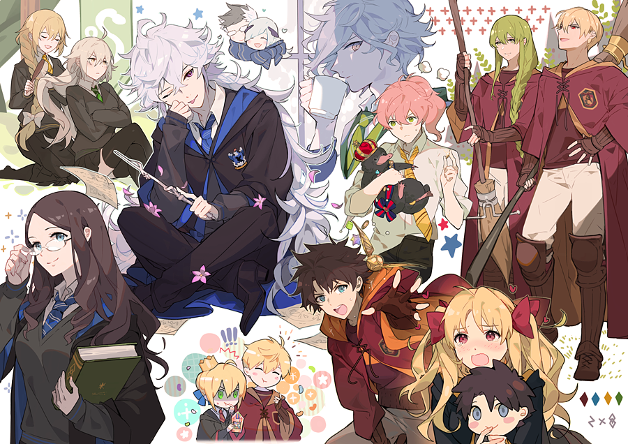 !! 6+boys 6+girls ;p ahoge animal arthur_pendragon_(fate) artoria_pendragon_(all) black_hair blonde_hair blue_eyes blue_ribbon blush book braid braided_ponytail breasts broom broom_riding brown_hair brush brynhildr_(fate) closed_eyes closed_mouth commentary crossover crown crying crying_with_eyes_open cup eating edmond_dantes_(fate/grand_order) english_commentary enkidu_(fate/strange_fake) ereshkigal_(fate/grand_order) eyebrows_visible_through_hair fate/grand_order fate_(series) flower flowerchorus french_braid fujimaru_ritsuka_(male) gilgamesh glasses green_eyes green_hair gryffindor hair_between_eyes hair_brush hair_brushing hair_ornament hair_ribbon harry_potter heart hogwarts_school_uniform holding holding_animal holding_book holding_broom holding_cup holding_wand hufflepuff jeanne_d'arc_(alter)_(fate) jeanne_d'arc_(fate) jeanne_d'arc_(fate)_(all) leonardo_da_vinci_(fate/grand_order) long_hair medium_breasts merlin_(fate) mug multicolored_hair multiple_boys multiple_girls necktie one_eye_closed open_eyes open_mouth orange_hair petals platypus ponytail quidditch ravenclaw red_eyes red_ribbon ribbon romani_archaman saber scarf school_uniform shared_scarf short_hair sigurd_(fate/grand_order) silver_hair single_braid sitting slytherin smile spiky_hair stuffed_toy tears tongue tongue_out twintails very_long_hair violet_eyes wand white_hair white_ribbon wing_hair_ornament yellow_eyes