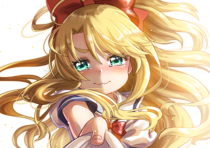 1girl 3: aqua_eyes bangs blonde_hair blurry blush bow confession depth_of_field floating_hair hair_bow himesaka_noa holding_letter horizontal_stripes letter light_particles long_hair looking_at_viewer love_letter nonaka_hako ponytail puffy_short_sleeves puffy_sleeves red_bow red_neckwear sailor_collar shirt short_sleeves sidelocks simple_background solo striped tearing_up thick_eyebrows very_long_hair watashi_ni_tenshi_ga_maiorita! white_background white_sailor_collar white_shirt