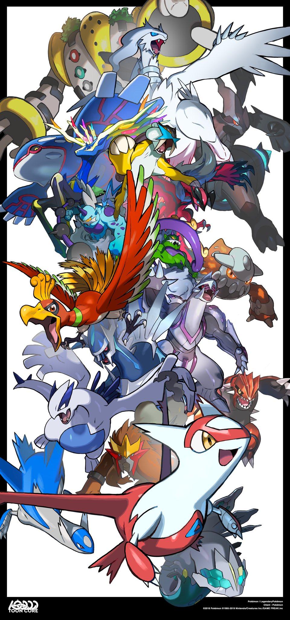 alternate_color creatures_(company) credits dialga entei game_freak gen_2_pokemon gen_3_pokemon gen_4_pokemon gen_5_pokemon gen_6_pokemon groudon heatran highres ho-oh kyogre latias latios legendary_pokemon lugia nintendo no_humans palkia pokemon pokemon_(creature) pokemon_(game) raikou regigigas reshiram shiny_pokemon thundurus tokiya tornadus xerneas yveltal zekrom zygarde zygarde_50_percent